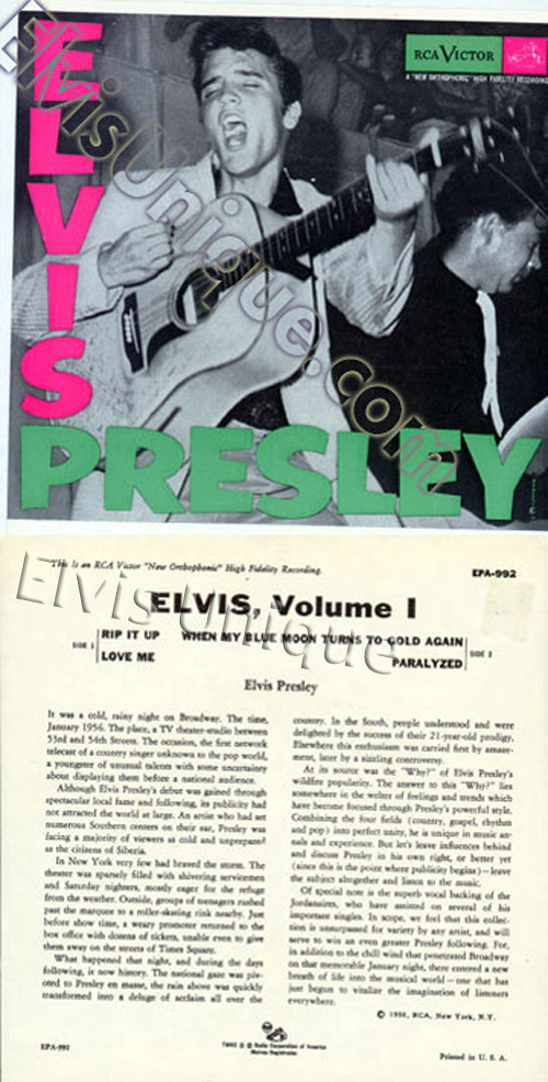 Elvis Vol. 1 EPA-992 Rare With EPA-747 Front Cover Image