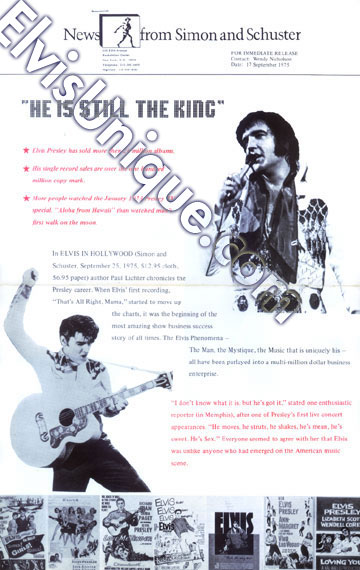 Elvis In Hollywood Pressbook From Simon & Schuster Image